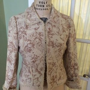 Fringed Jacquard Jacket from Cotton/Hemp